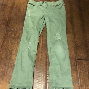 Crazy 8 girls green distressed jeans